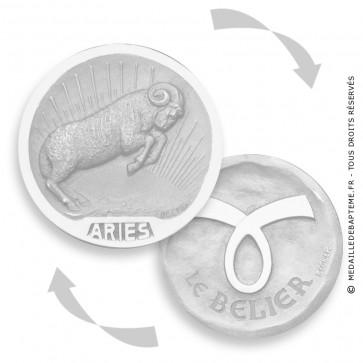 Médaille stylisée Zodiaque Bélier RECTO-VERSO BECKER ( argent)