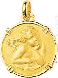 Médaille Ange Pensif cerclée (Or Jaune 9k)