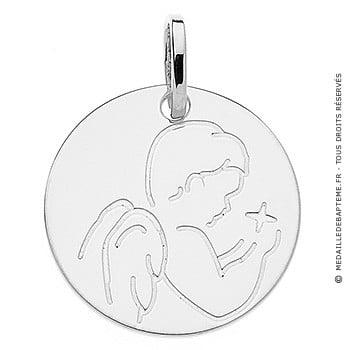 Médaille ange à l'étoile (Or Blanc 9K)