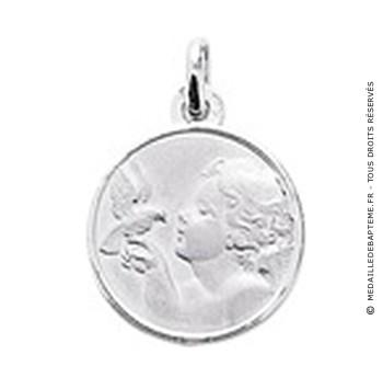 Médaille Ange à la colombe 16mm (Or Blanc)