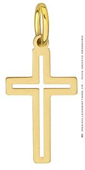 Croix ajourée bords arrondis or jaune