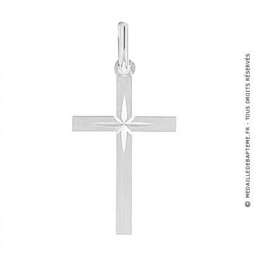 Croix Augis étoile lapidée (Or Blanc)