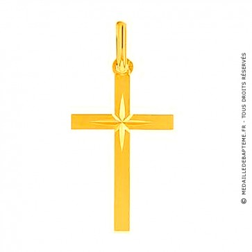 Croix Augis étoile lapidée (Or Jaune)