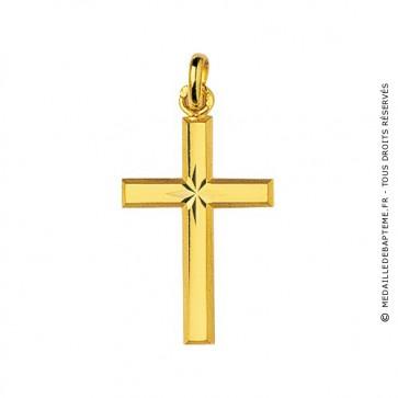Croix étoilée lapidée (Or Jaune)