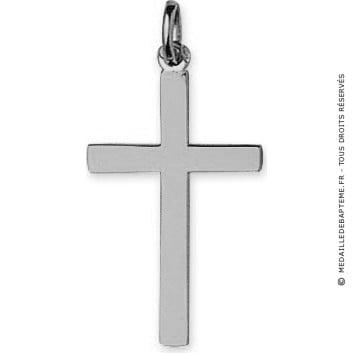 Pendentif Croix Fil plat (Or blanc)