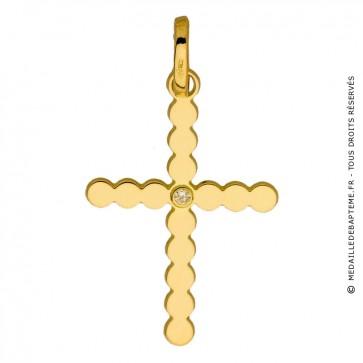 Pendentif  Croix perlée et Diamant (Or Jaune)