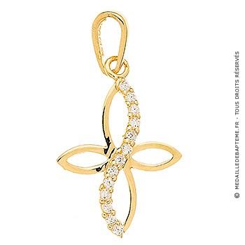 Croix Plate or jaune avec Brillants (Or Jaune 9 carats)