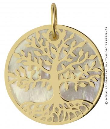 Médaille Arbre de Vie nacrée (Or jaune 9K)