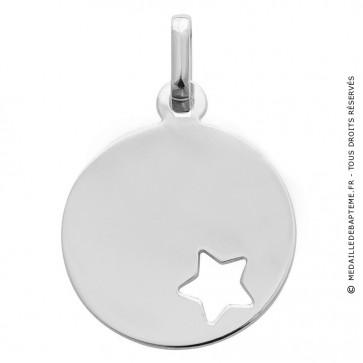 Médaille jeton étoile ajourée (Or blanc)