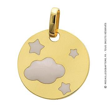 Médaille jeton nuage et étoiles laqués (or jaune)