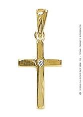 Pendentif Croix avec brillants (Or Jaune)