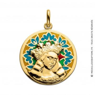 Médaille Vierge de Van Eyck émaillée (Or Jaune)