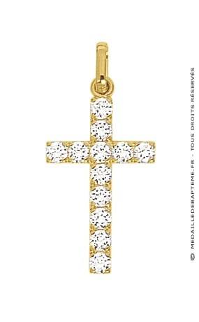 Croix Assortie de Brillants (Or Jaune)