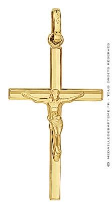 Croix et Christ Fil Biseauté (Or Jaune)