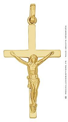 Croix et Christ Fil Plat (Or Jaune)