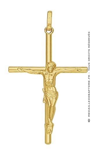 Croix et Christ Fil Rond (Or Jaune)