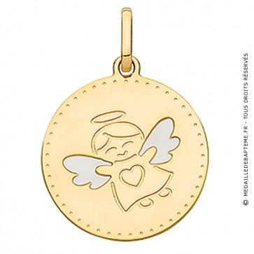 Médaille ange aux ailles laquées (Or Jaune)