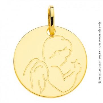 Médaille ange à l'étoile (Or Jaune 9K)