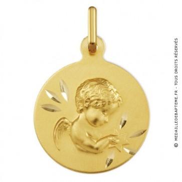 Médaille Ange à l'étoile ciselée (Or Jaune 9k)