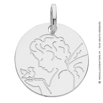 Médaille ange à la colombe (Or Blanc 9K)