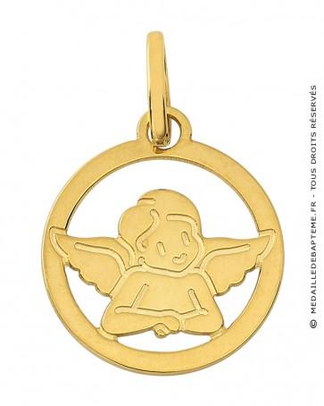Médaille Ange Ajouré Or jaune 9K