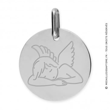 Médaille Ange assoupi (Or Blanc 9K)