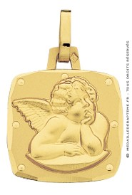Médaille Ange Carré (Or Jaune)