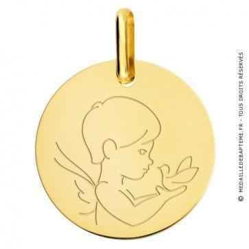 Médaille petit ange à la colombe (Or Jaune)