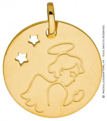 Médaille L'ange aux étoiles (Or Jaune 9K)