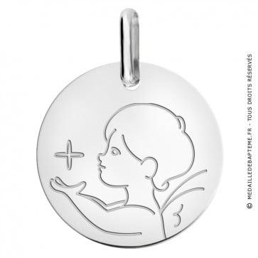Médaille ange à l'étoile de profil en or blanc 9 carats