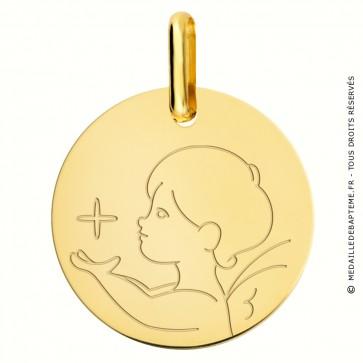 Médaille ange à l'étoile de profil en or jaune