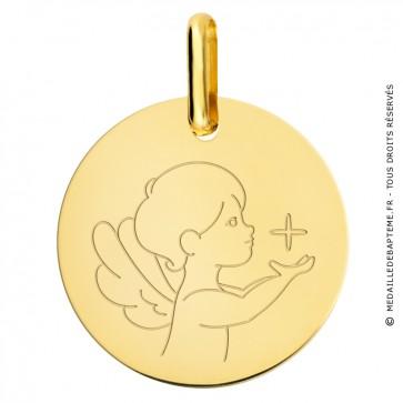 Médaille petit ange à l'étoile or jaune
