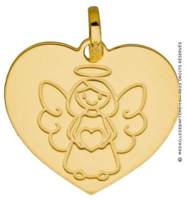 Médaille coeur Ange petite fille (Or Jaune 9K)