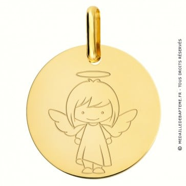 Médaille Ange fille or jaune