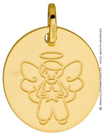 Médaille ange garçon à l'étoile (Or Jaune 9K)