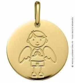 Médaille Ange Gardien Garçon (Or Jaune 9K)