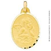 Médaille Ange Ovale (Or Jaune)