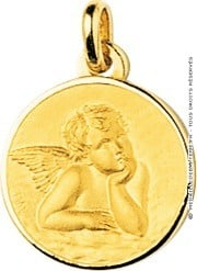 Médaille Ange Raphaël cerclée (Or Jaune 9k)