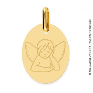 Médaille Ange rêveur Ovale (Or Jaune )