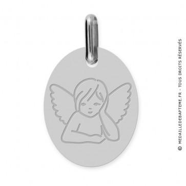 Médaille Ange rêveur Ovale (Or Blanc)