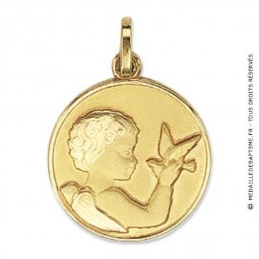 Médaille Ange tenant un Oiseau