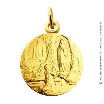 Médaille Apparition Notre Dame de Lourdes Martineau (or jaune)