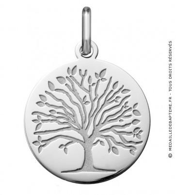 Médaille arbre de vie les 4 saisons : printemps (Or Blanc)