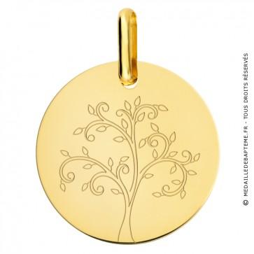 Médaille arbre de vie stylisé or jaune