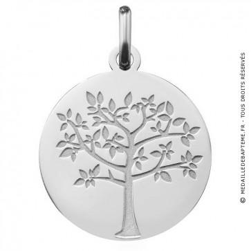 médaille arbre de vie printanier en or blanc