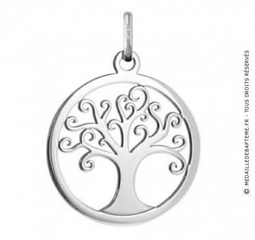 Médaille Arbre de Vie ajourée (Or blanc)