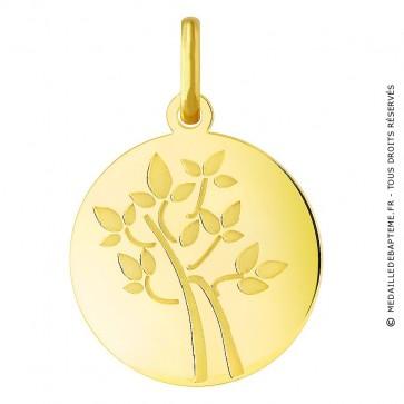Médaille arbre de vie jeune pousse (Or Jaune)