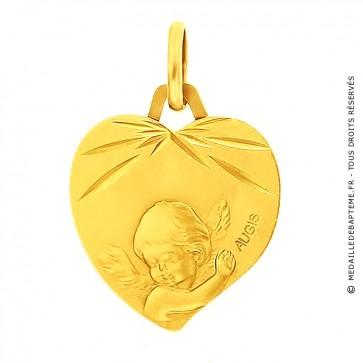 Médaille Ange coeur ciselé (Or Jaune)