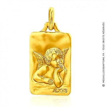 Médaille Augis Ange Raphaël rectangulaire (Or Jaune)