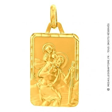 Médaille St Christophe Rectangle (Or Jaune)